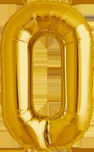 """Zahlenballon gold """"0"""" 86cm"""