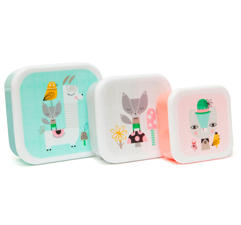 3er Set Lunchbox Lama & friends