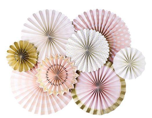 Faltrosetten Set in Rosa