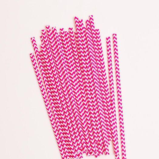 Trinkhalme Streifen Pink