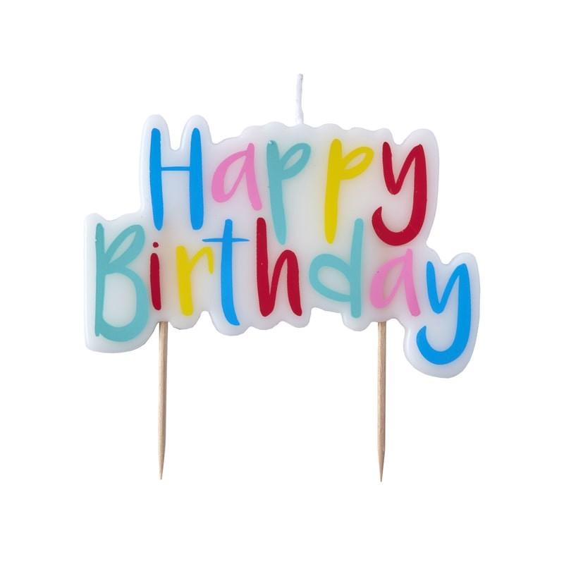 Kerze Happy Birthday bunt