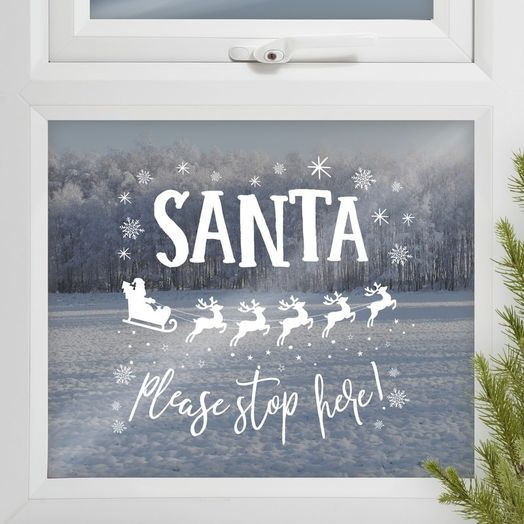 "Fensterbild ""Santa stop here"""