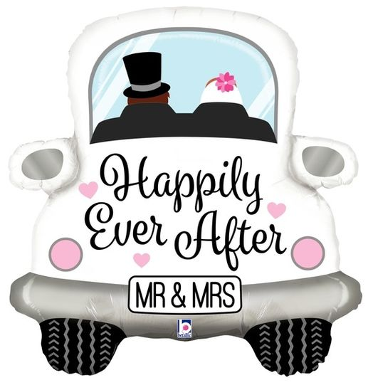 Folienballon Auto Happily Ever After