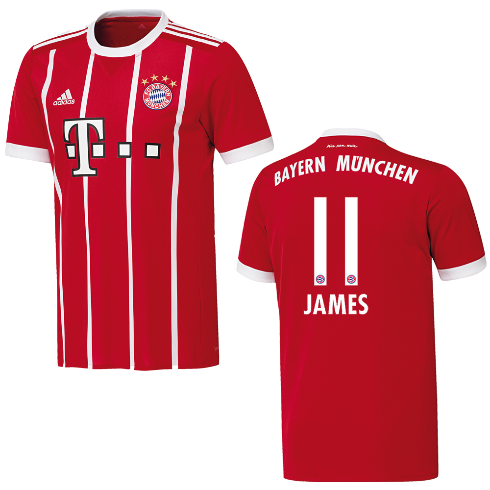 adidas fc bayern m nchen trikot home kinder 2017 2018 james 11 fantrikots fanshop spieler. Black Bedroom Furniture Sets. Home Design Ideas