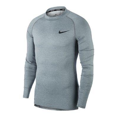 nike M NP TOP LS TIGHT MOCK-COMPRESSION Shirt Herren langarm grau