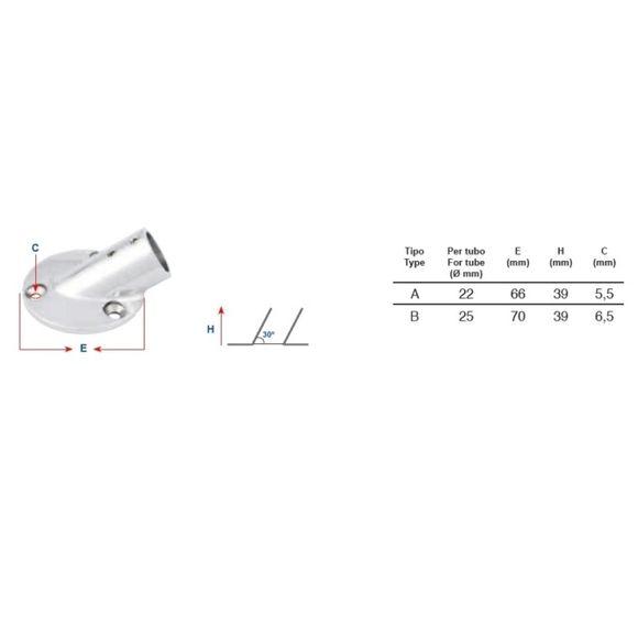 Relinghalter Ø 25 mm Edelstahl 30° Relingfuß Bimini Reling Typ B – Bild 2