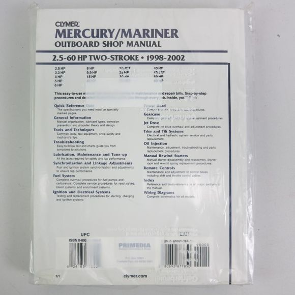 Clymer Mercury/Mariner Manual 2.5-60PS 2Str 1998-2002 B725 02 Eng – Bild 2