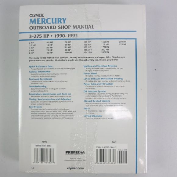 Clymer Mercury Manual 3-275PS 1990-1993 B722 Engl – Bild 2