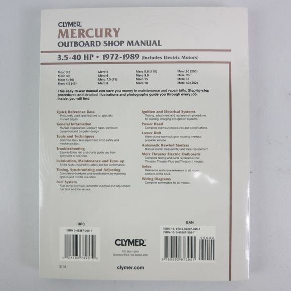 Clymer Mercury Manual 3.5-40PS 1972-1989 B721 Engl – Bild 2