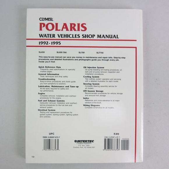 Clymer Polaris Water Vehicles Manual 1992-1995 W819 99 A1999 Engl – Bild 2