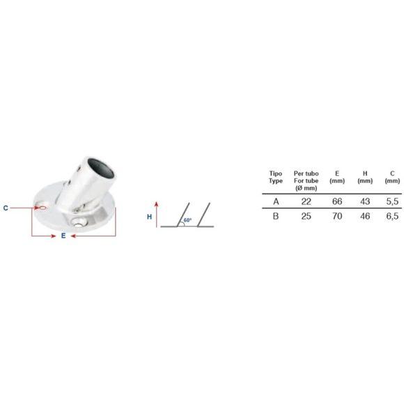 Reling Fuß Halterung 60° Ø 22mm rund Edelstahl Bimini Typ A – Bild 2