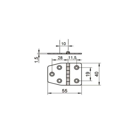 55 x 40 x 1,5 mm Scharnier Edelstahl A2 gestanzt Schanier  – Bild 2