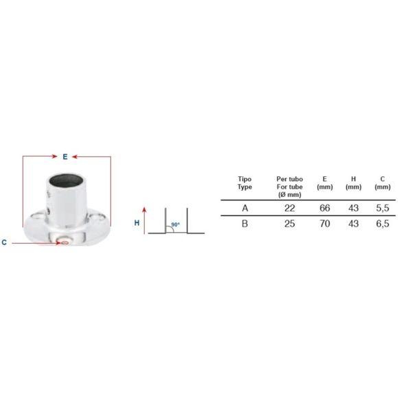 Reling Fuß Halterung 90° Ø 25mm rund Edelstahl Bimini Typ B – Bild 2