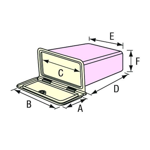 Einbaufach mit Deckel & Schloss weiß 174x292 mm Chromgriff VHF Box – Bild 3