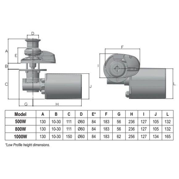 12V Lofrans X1 Ankerwinde 6mm Kette 500W 800W Alu Bronze Winsch – Bild 3