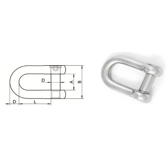 Edelstahl Schäkel gerade A4 mit Innensechskant Ø 6-12mm Schekel – Bild 2
