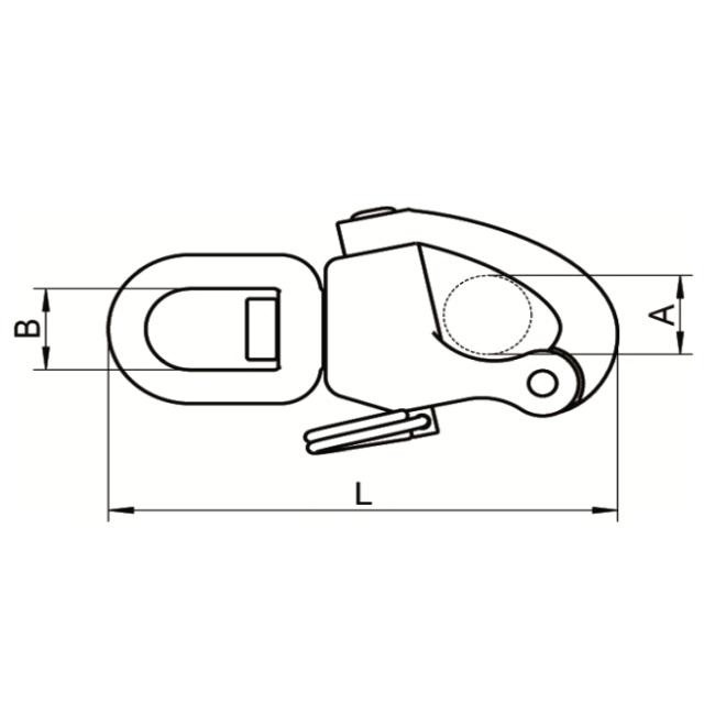 Edelstahl A4 Schnappschäkel mit Wirbelauge 70-124mm Schotschäkel – Bild 2