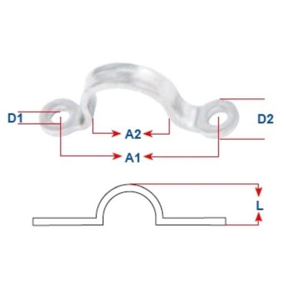 Edelstahl Augbügel Flachbügel gestanzt L=29-45mm Fenderöse Zuröse – Bild 2