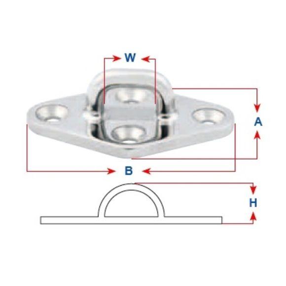 Edelstahl A4 Augplatte Feinguss poliert 80/90/100mm Bügelplatte – Bild 2