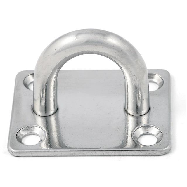 Edelstahl Augplatte mit quadratischer Basis Ø 5/6/8mm Bügelplatte – Bild 1