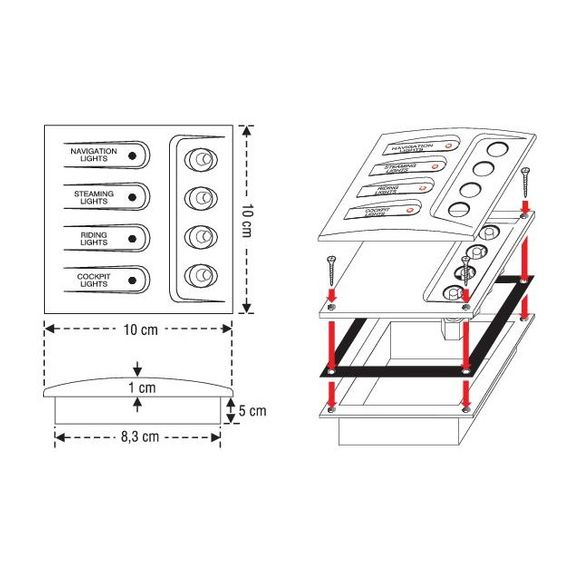12V 4 Gang LED Schalttafel Schaltpanel Schaltpaneel Boot Yacht – Bild 2