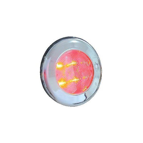 LED Leuchte 12V Lampe IP67 Gehäuse Chrom Ø75mm LED weiß oder rot – Bild 2