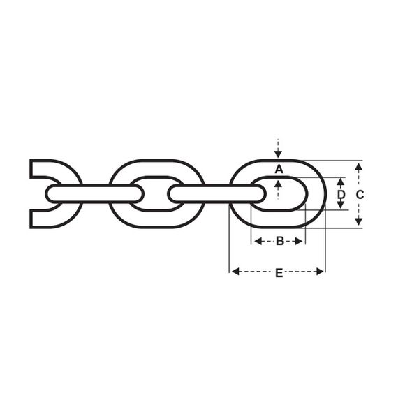 6 mm Kette Ankerkette Kettenvorläufer ISO 4565 DIN 766 verzinkt – Bild 2
