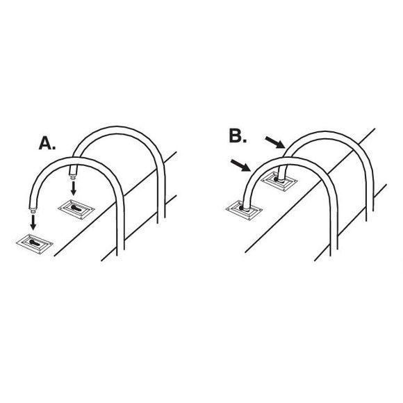 Badeleiter Edelstahl abnehmbar 5 Stufen H = 136 cm Montageplatten – Bild 2