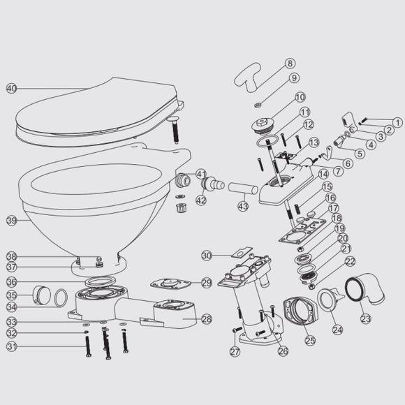 Ersatzteile für manuelle Bordtoilette LT-0 / LT-1 Reparaturset – Bild 2