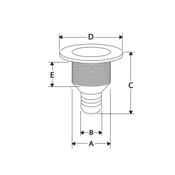 3/4'' x 80mm Borddurchlass bündiger Flansch Stutzen Kunststoff – Bild 2