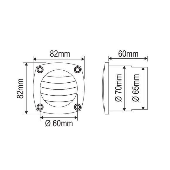 Nuova Rade 82 x 82 mm Schottlüfter mit Dichtung Lüftungsgitter  – Bild 2