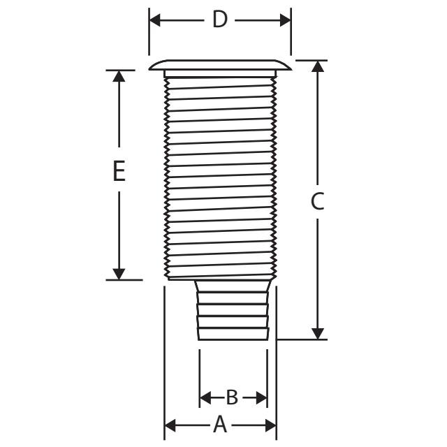 1 1/2'' Borddurchlass Edelstahlflansch versetzter Stutzen  – Bild 2