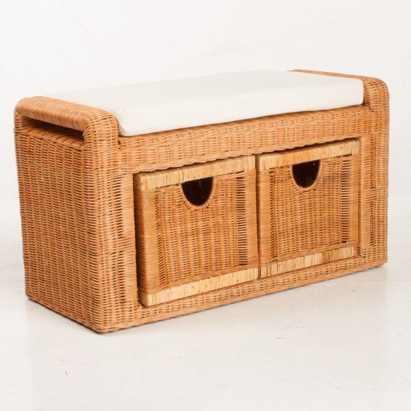Rattanbank Sitzbank Wäschebox Honig – Bild 1