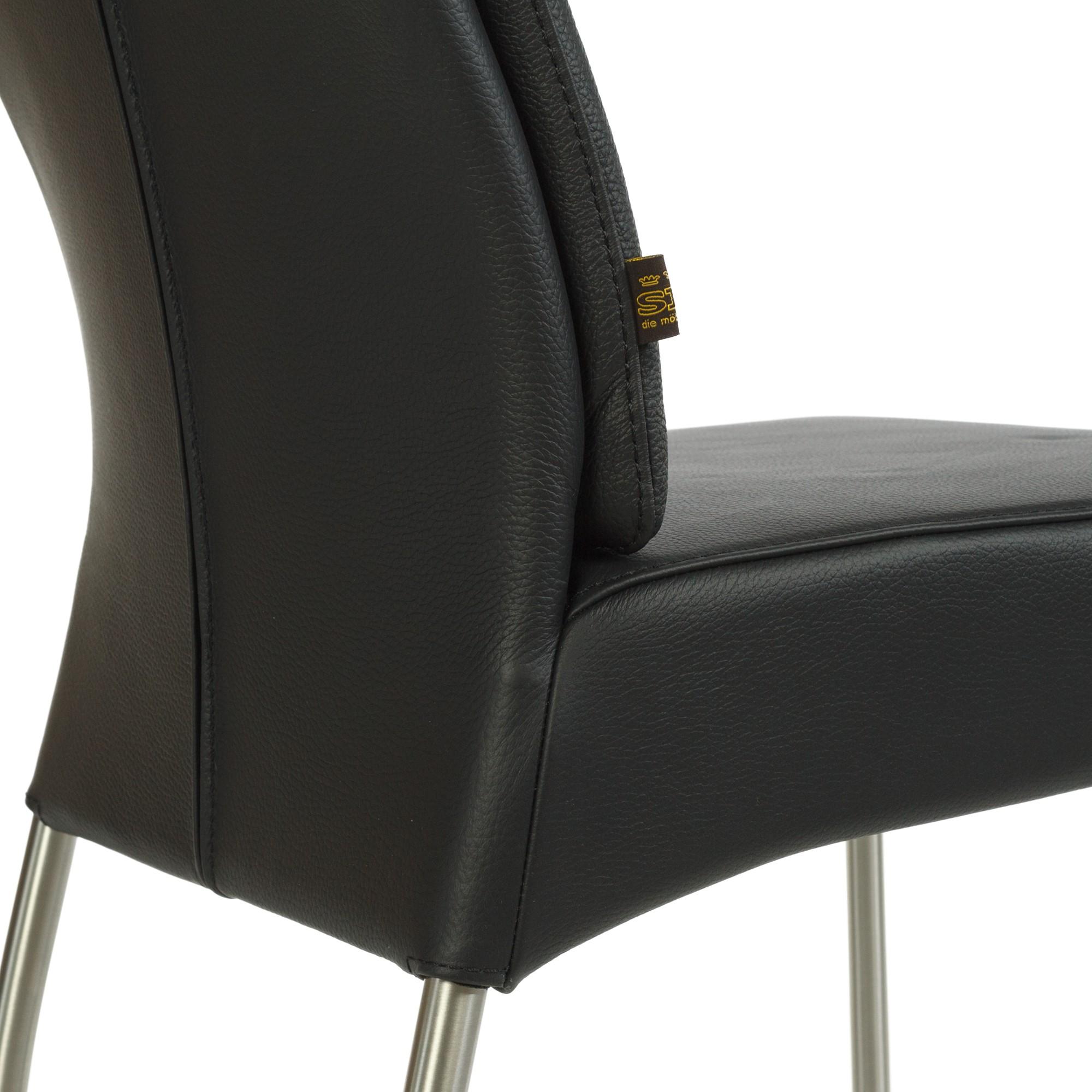 Lederstuhl gatto schwarz edelstahl - Lederstuhl design ...