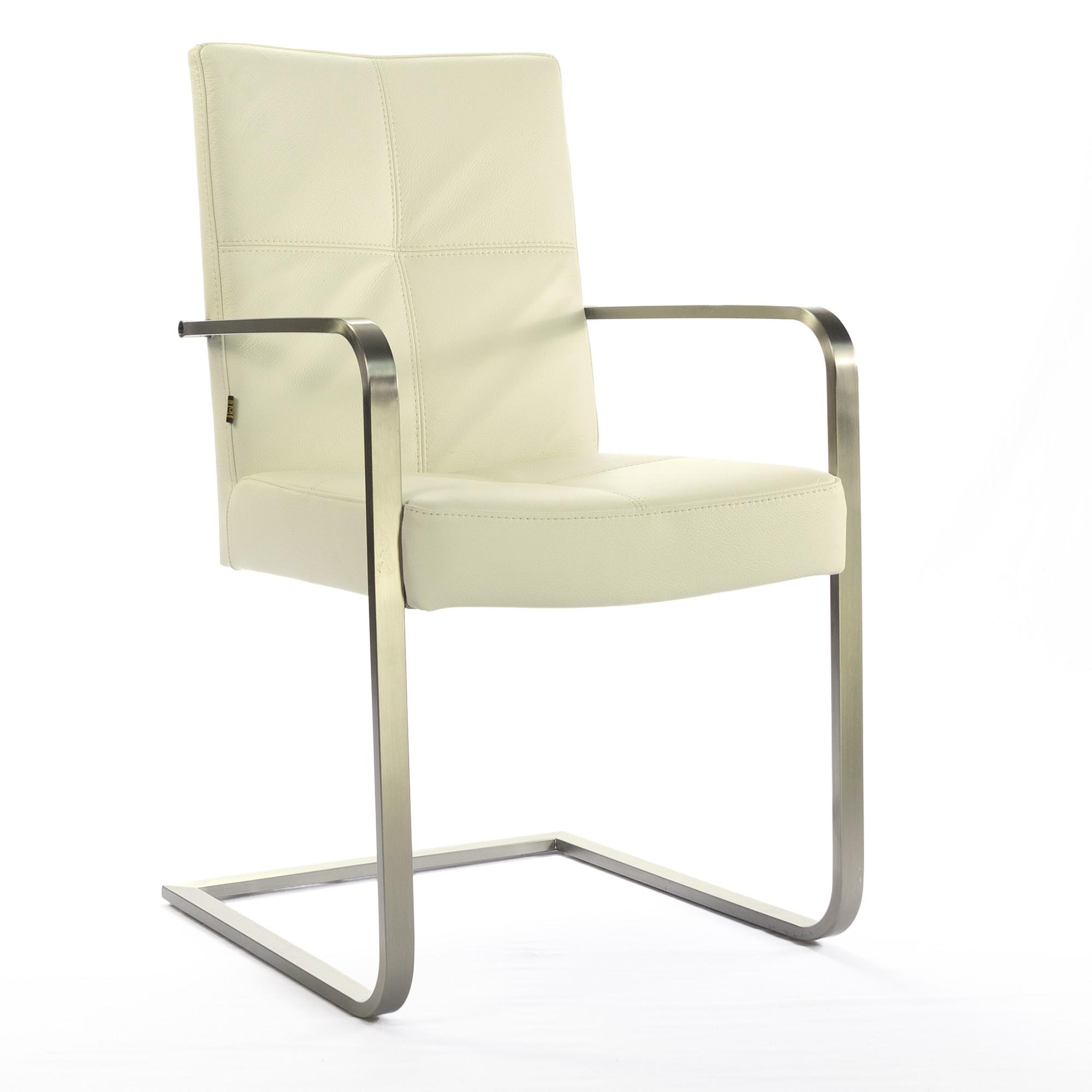 freischwinger armlehnstuhl libero rindsleder creme weiss edelstahl. Black Bedroom Furniture Sets. Home Design Ideas