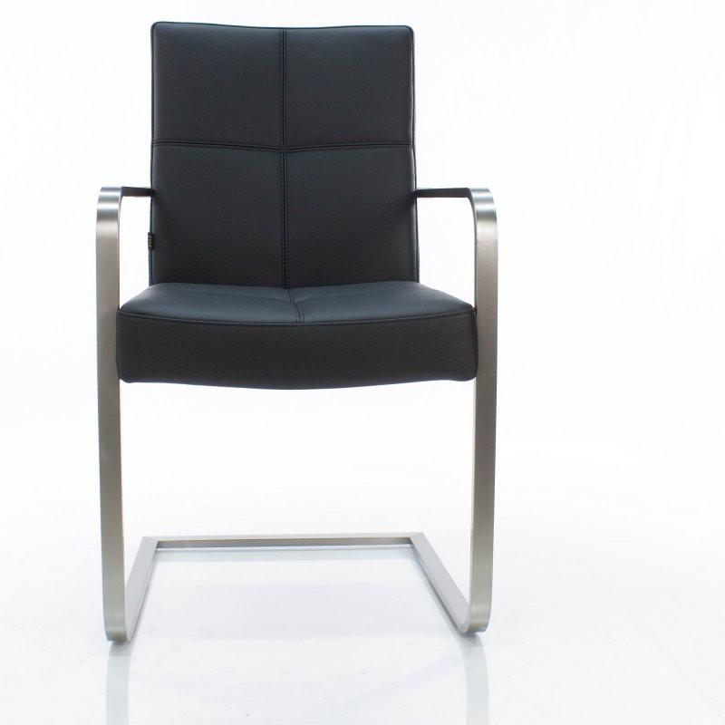 freischwinger armlehnstuhl libero rindsleder schwarz edelstahl. Black Bedroom Furniture Sets. Home Design Ideas