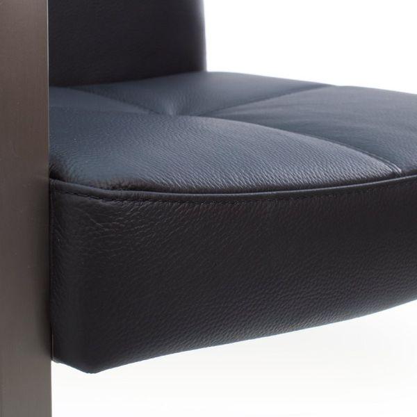 Freischwinger Armlehnstuhl Libero Rindsleder schwarz Edelstahl – Bild 6