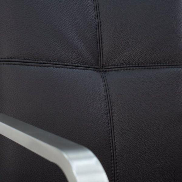 Freischwinger Armlehnstuhl Libero Rindsleder schwarz Edelstahl – Bild 7