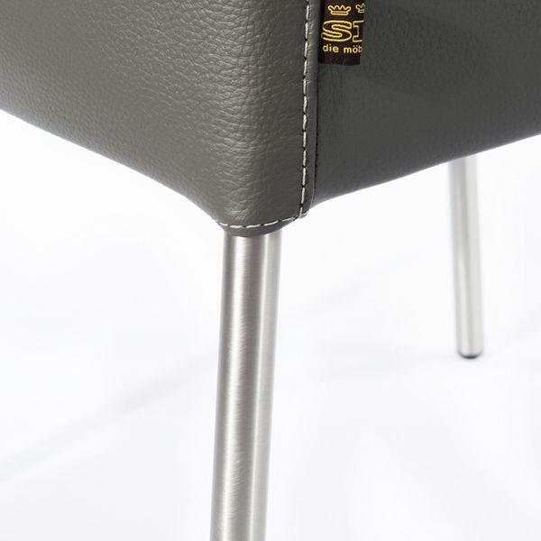 Armlehnstuhl Lederstuhl Ledersessel Ricco Grau – Bild 7