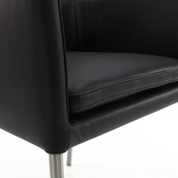 Armlehnstuhl Lederstuhl Ledersessel Ricco Schwarz – Bild 5