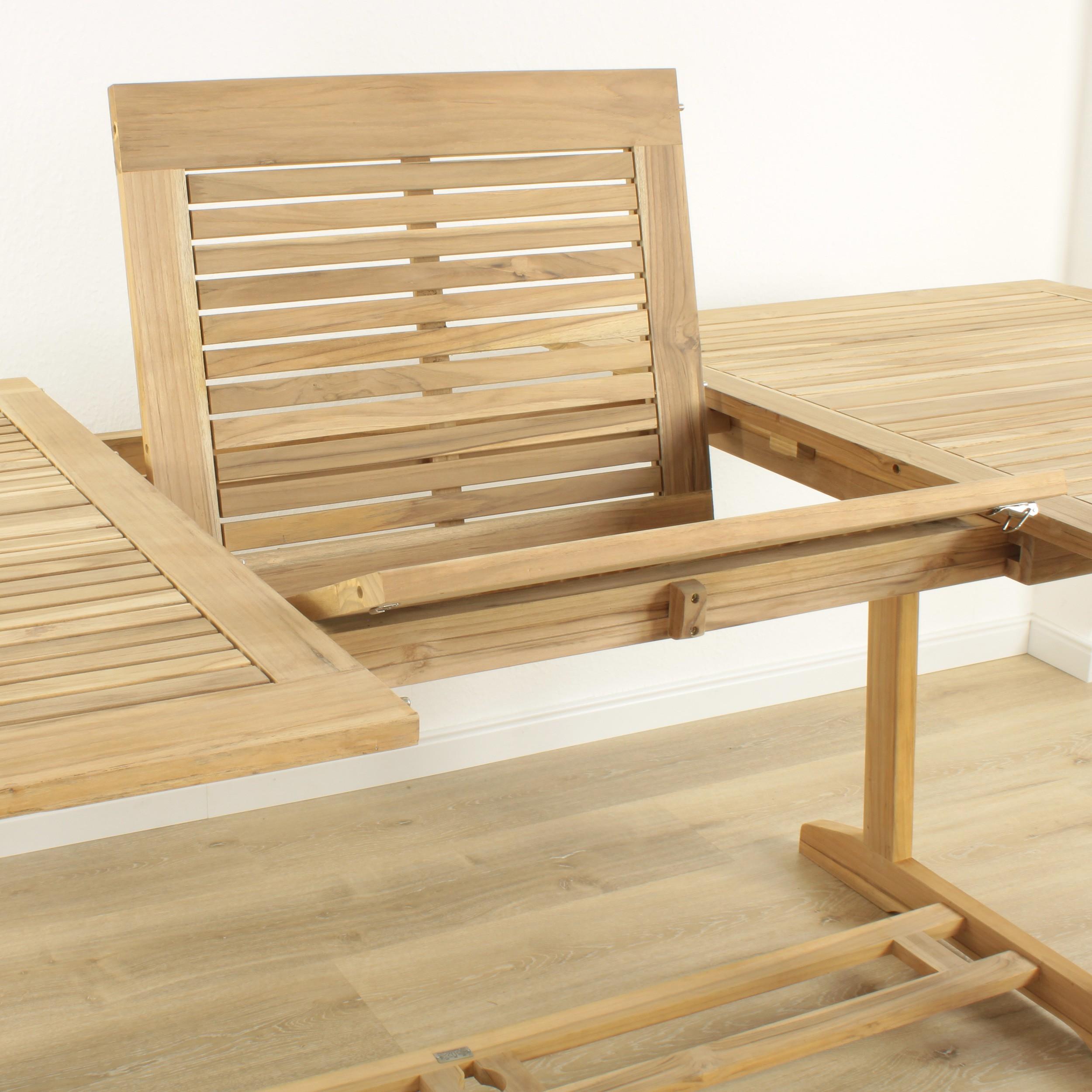 gartentisch ausziehbar 170 230 x 100 teak. Black Bedroom Furniture Sets. Home Design Ideas