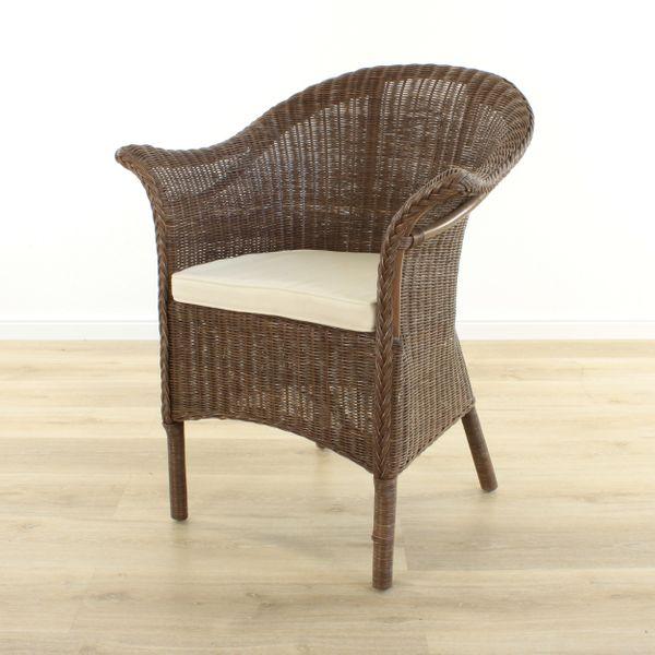 Rattansessel Charlotte Kolonial mit Sitzkissen – Bild 1
