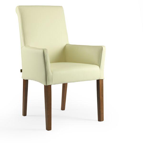 Lederstuhl Armlehnstuhl Galdo Creme Weiß Nussbaum – Bild 1