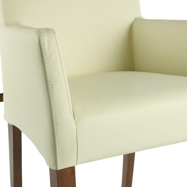 Lederstuhl Armlehnstuhl Galdo Creme Weiß Nussbaum – Bild 5