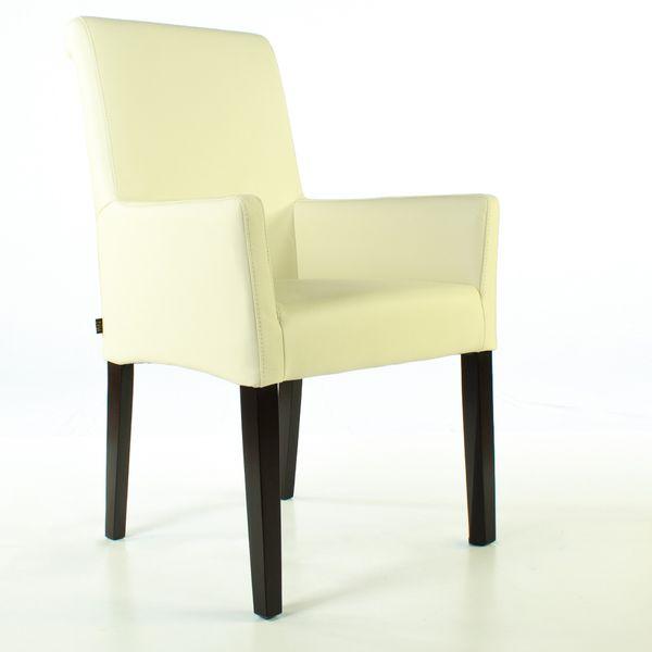 Lederstuhl Armlehnstuhl Galdo Creme Weiß Wenge 2200 – Bild 2