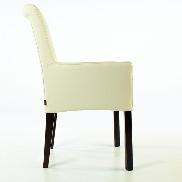Lederstuhl Armlehnstuhl Galdo Creme Weiß Wenge 2200 – Bild 4