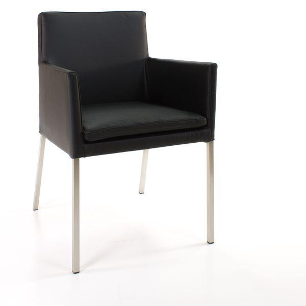 Armlehnstuhl Lederstuhl Ledersessel Stella Schwarz – Bild 1