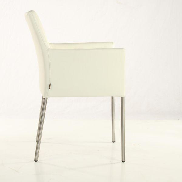 Armlehnstuhl Lederstuhl Ledersessel Ricco Creme Weiss 2200 – Bild 2
