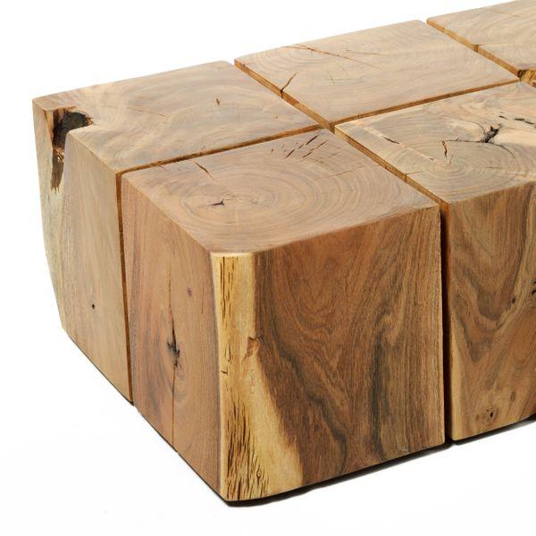 Couchtisch Massivholz Akazie 8 Block 107x53 – Bild 3