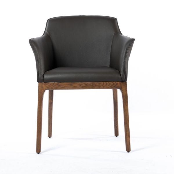 Lederstuhl Armlehnstuhl Santo Dark Braun Nussbaum – Bild 3